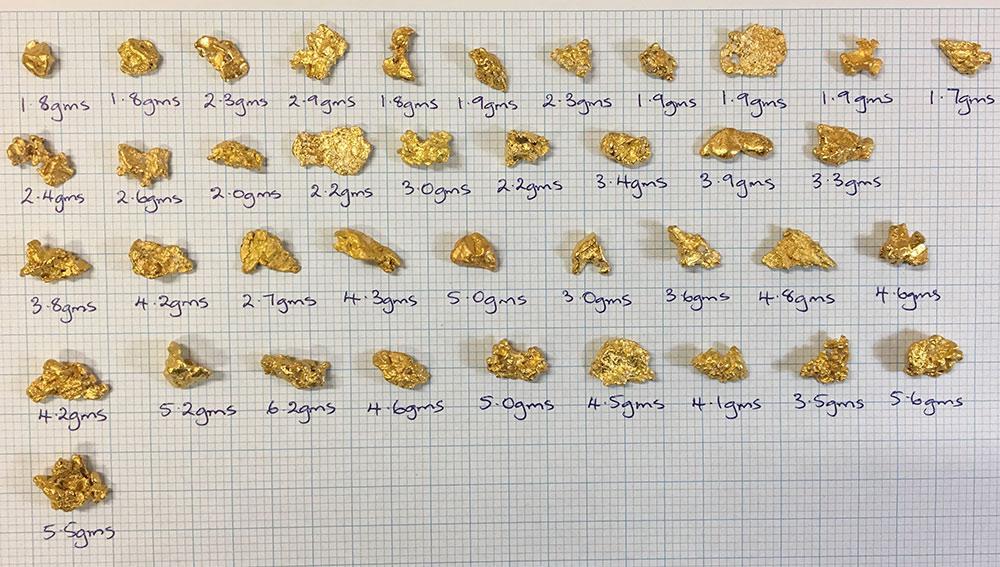 Auswahl_Goldnuggets_2Gramm